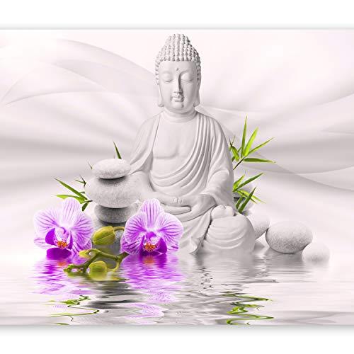 murando Fototapete Buddha 250x175 cm Vlies Tapeten Wandtapete XXL Moderne Wanddeko Design Wand Dekoration Wohnzimmer Schlafzimmer Büro Flur Natur Blumen Orchidee Zen b-A-0011-a-c