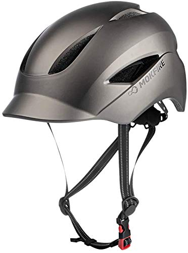 MOKFIRE Adult Bike Helmet with USB Charge Safety Light & Reflective Strap, Urban Commuter Bicycle Helmet CPSC and CE Certified for Adult Men/Women - Adjustable Size - Matte Titanium