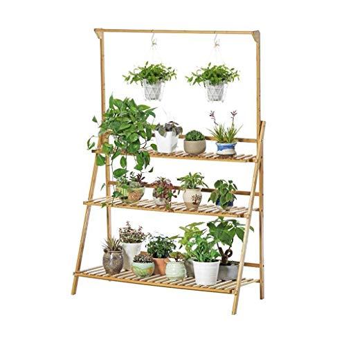 XUSHEN-HU Moderno soporte ajustable de 3 niveles de madera para plantas, se puede colgar plegable, balcón, sala de estar, suculentas, estante de exhibición de plantas simple