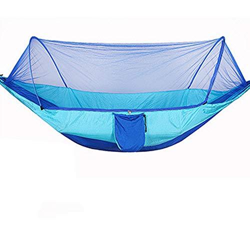HUANXI Tragbar Doppelt Liegestuhl Kinder Garten mit Aufbewahrungstasche + Gurt,300kg Tragfähigkeit (250x120cm) Blau Hängesessel für Draußen für Campingcamping Im Freien Schlafen