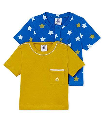 Petit Bateau LOT TS AIS, T-Shirt Bébé garçon, Bleu/Jaune (Variante 2 99), 18-24 Mois (Taille Fabricant:18M) Lot de 2