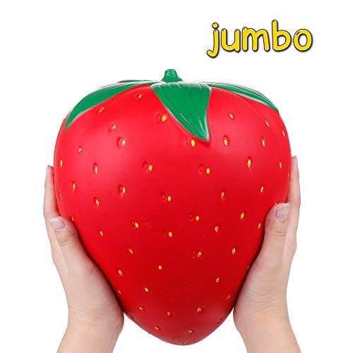 Anboor Squishies Fresa Kawaii Rojo Suave Levantamiento Lento Perfumado Squishies De Frutas Alivio del Estrés Juguetes para Ni?os Regalo Decoración Accesorios