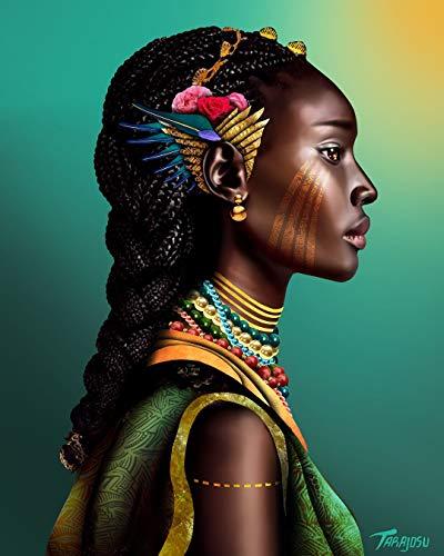 Diy 5D Diamond Pintura De Diamantes Completo_Mujer negra africana Diamond Painting 40x50cm_punto de cruz diamante kit completo pintura para cristal manualidades calcomanía de pared para casa, cocina,