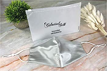 CELESTIAL SILK Premium 22 Momme Silk Face Mask Reusable and Washable Anti Dust Mouth Cover with Adjustable Ear Loops Women  Regular Silver