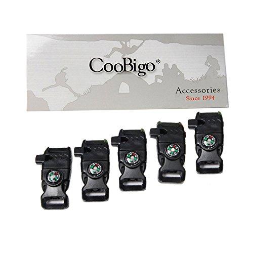 "5pcs Pack 5/8"" Compass Fire Starter Whistle Buckle Emergency Survival for Paracord Bracelet Outdoor Activity #FLC158-FWC(Black)"