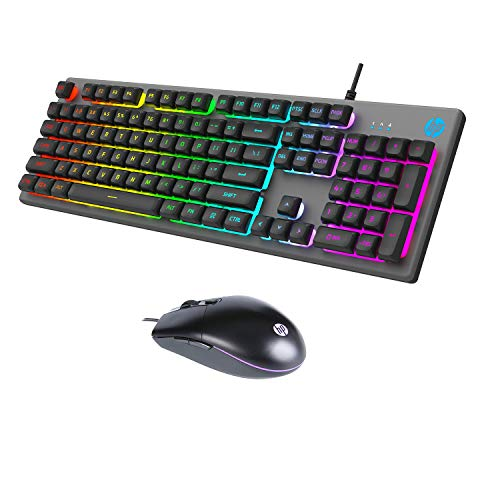 HP KM300F Wired Gaming Keyboard & Mouse Combo, Membrane Backlit, 26 Keys Anti-Ghosting, 3 LED Indicators & 3D 6K USB Mouse with 6400DPI, Six-Speed Cyclic Resolution Switching (8AA01AA)