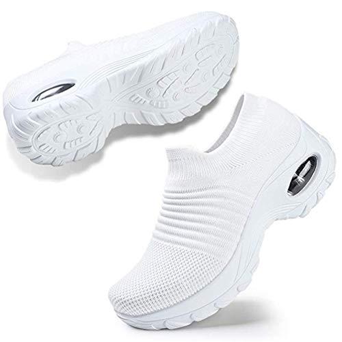 TANTOO - Mocasines cómodos con Plataforma y cuña para Mujer, Blanco, 5.5 US