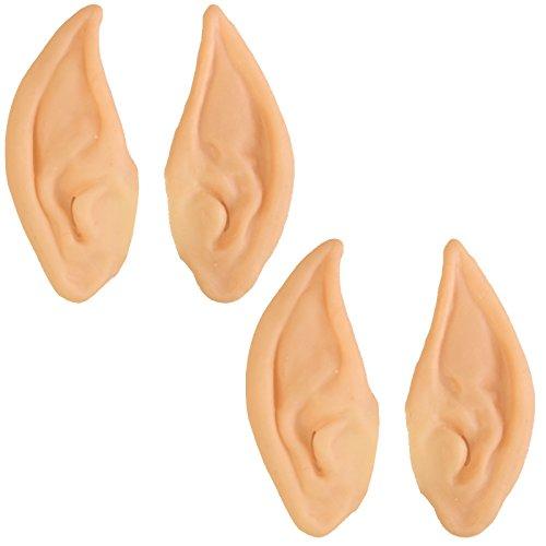 2 Paar Spitzohren Elfenohren Mr. Spock Elbenohren Elfe Ohren Kostümaccessoire