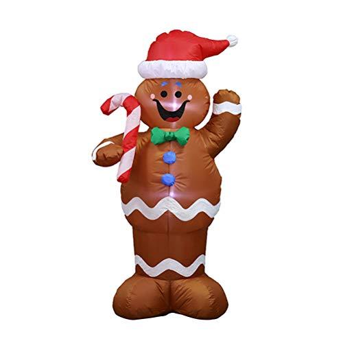 Oyria - Muñeco de Nieve Hinchable de Navidad con bastón de Caramelo y luz LED para decoración navideña en...