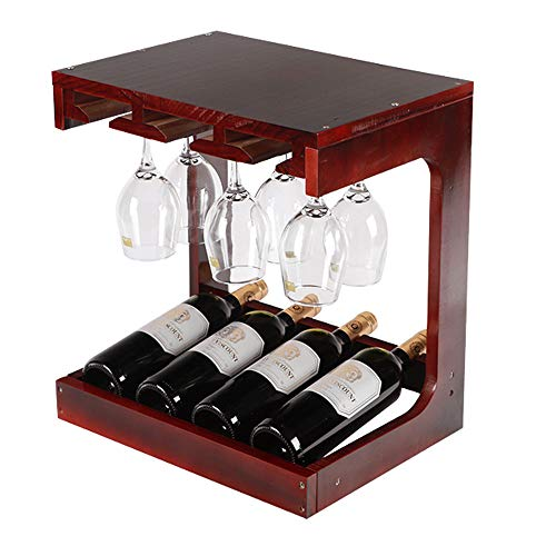 Meet World Decoración De Estantes para Vinos Estante para Vinos Estante De Vidrio De Madera Maciza Estante para Copas De Vino Estante para Copas De Vino Hogar para La Sala De Estar Vinoteca