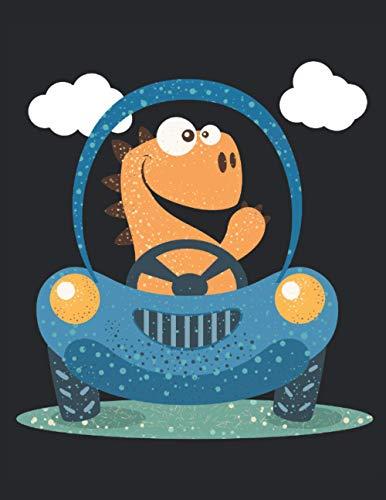 Dinosaure mignon dans la voiture: Notebook |Damier, 21, 59 x 27, 94 cm (8, 5 'x 11'), 120 pages, pages de couleur crème, couverture mate
