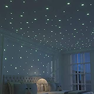 100pcs Plastic 3D Stars Glow in the Dark Fluorescent Luminous Wall Stickers Decal For Baby Kids Room, Blue