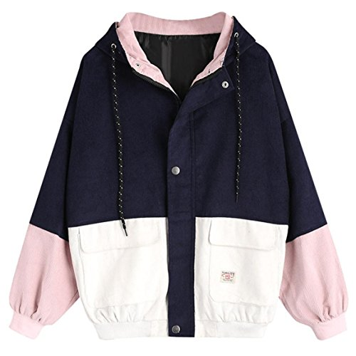 Moonuy,Damen Long Sleeve Hoodies, Damen Cord Patchwork Oversize Zipper Jacke Windbreaker Crop Mantel Lässige Mantel für Party, Beach Damen Mädchen Sweatshirt (Marine, EU 36 / Asien M)
