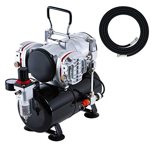 Master Airbrush Model TC-828, High-Performance Twin Cylinder Piston Air Compressor with Tank and a Free 6 Inch Airbrush Hose
