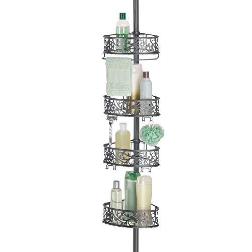 mDesign Estantería de ducha rinconera de metal – Estantería telescópica sin taladro para el baño – Elegante organizador de ducha con diseño floral para champú, acondicionador y jabón – gris