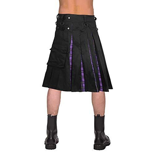 Scottish Herren Kilt Unisex Cosplay Schottland Klassische Retro Gothic Faltenröcke Hip Hop Shorts Schärpen Tasche Knielange Kilts Asiansizexxxl Lilaplaid