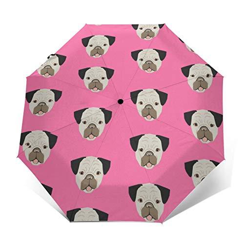 Paragüero lindo perro carlino perro perro perro perro perro perro lindo perro abierto automático / cierre portátil triple plegable paraguas impermeable durable plegable paraguas