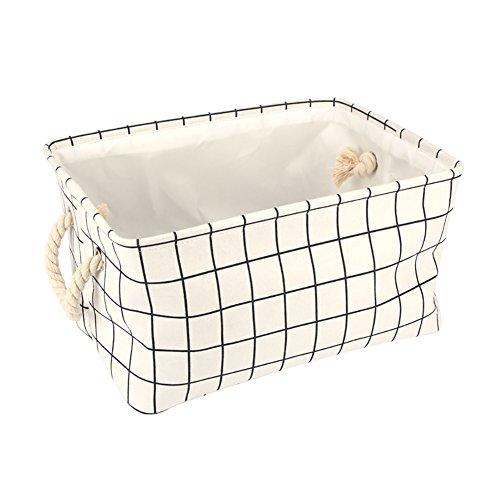 Fablcrew 1 pcs Mode Pliable de Stockage Panier Blanc Cocher Motifs de Stockage de Tissu de Coton Cas 40 * 28 * 23.5 CM