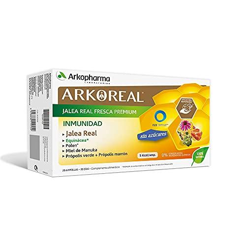 Arkopharma Arkoreal Jalea Real Inmunidad Sin Azúcar 20 Ampollas | Aumenta y Refuerza Defensas | Multiplica x 2 Tu Resistencia | Complemento Alimenticio