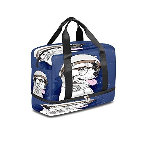 Bolsa de deporte para gimnasio, ideal para viajes, con bolsillo húmedo y compartimento para zapatos, impermeable, para hombres y mujeres