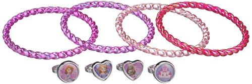Joy Toy Disney Sofia 115013 - Set con 4 Braccialetti di Plastica e 4 Anelli 7X7X2,5 cm