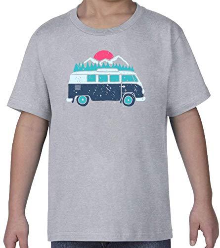 Travel The World Hippie Oldschool Van Nature Graphic Gris Kids Crew Neck T-Shirt S