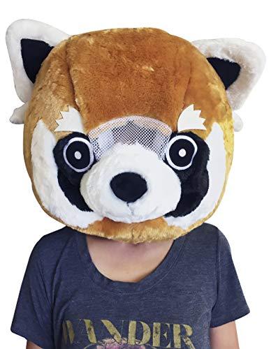 CLEVER IDIOTS INC Tierkopf-Maske – Plüsch-Kostüm für Halloween-Partys & Cosplay (Red Panda)