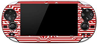 Crazy Candy Cane Red and White Stripes Playstation Vita Vinyl Decal Sticker Skin by Debbie's Designs