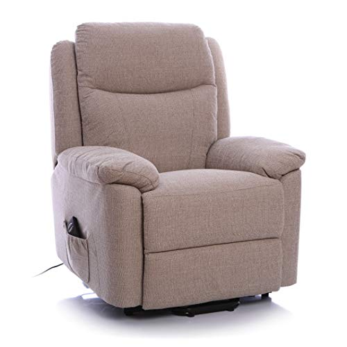 Morris Living Oxford Riser Recliner/Lift & Tilt Chair in Soft Beige Fabric with USB charging