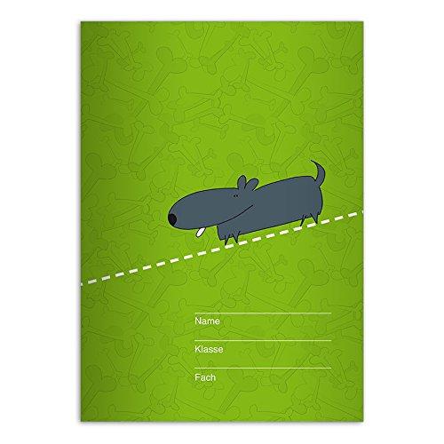 Brutale DIN A4 schoolschrift, schrijfboekje met schattige tegel, gele liniatuur 21 (gelinieerd boekje) . 4 Schulhefte groen