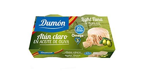 DUMON - NOUVEAU 30 paquets de 2 unités de 80g chacune de Thon Pâle à l'huile d'olive en Conserve. Thon en Conserve riche en protéines et en oméga 3. Poisson en conserve 100% naturel