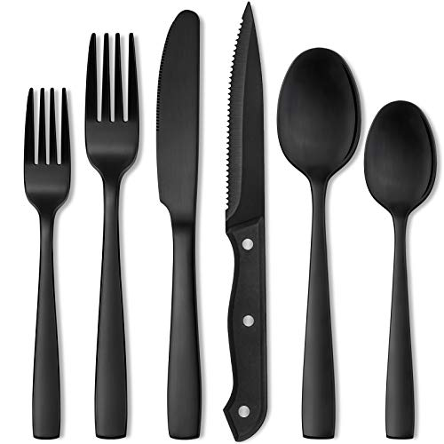 Hiware 48-Piece Matte Black Silverware Set for 8, Stainless Steel Flatware Set with Steak Knives, Hand Wash Recommended