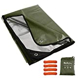 RedSwing Heavy Duty Survival Blanket, Waterproof Emergency Thermal Tarp, Multipurpose Reflective Insulated All Weather Blankets for Camping Hiking, Green