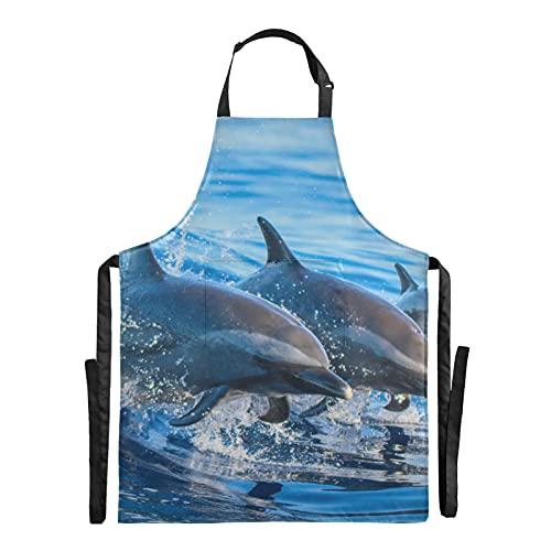 Zemivs Delantal de trabajo de chef con salto de delfín de las aguas azules, delantal de chef ajustable de 88x68 cm para mujer, delantal de zapatero con gotas de agua para hombres y mujeres
