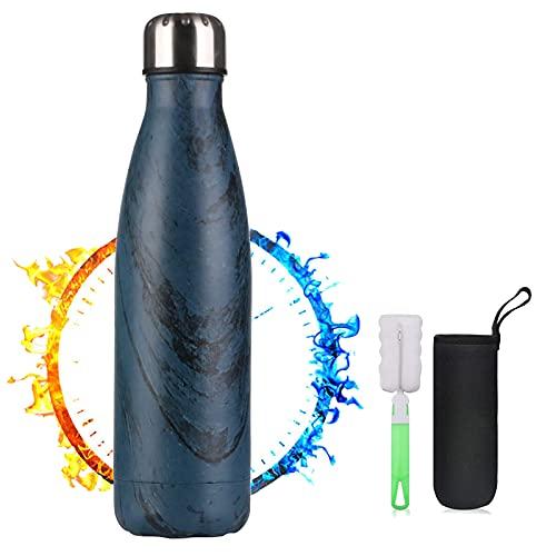 TMG Aislamiento de Vacío de Doble Pared Botella Termica,Botella de Agua Acero Inoxidable 500ml,Botellas de Frío/Caliente,Con 1 cepillo de limpieza y portavasos,para,Niños,Oficina,Gimnasio,Depo