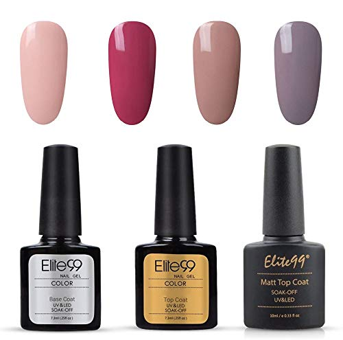 Elite99 Esmalte Semipermanente UV LED 7pcs Kit Uñas de Gel Pintauñas con Base Top Coat, Top Coat Mate, Esmalte de Uñas Soakoff Manicura - Nude 001
