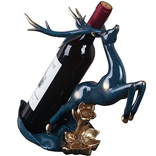 Estante de vino de ciervo de resina, soporte de escritorio para una sola botella, muebles creativos, adorno de estante Vintage, accesorios de decoración del hogar M+ / A
