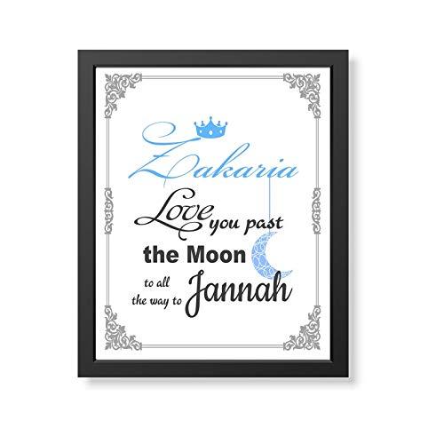 Islamic Personalized Boy Name Wandkunst Rahmen - Islamic Name Leinwand Rahmen, Islamic Gift Wandbehang, Mädchen Name Babyzimmer Wanddekoration
