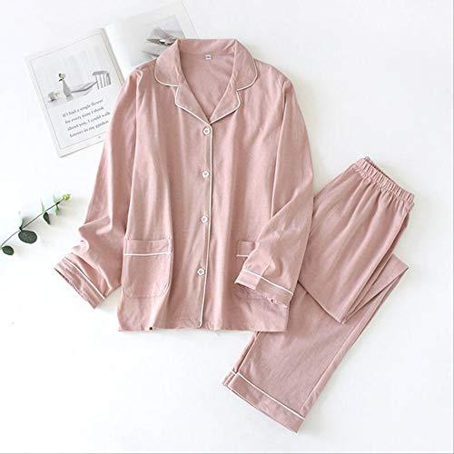 Xflowr Schlafanzug für Liebhaber, Frühling, Herren und Damen, schlichtes Design, Baumwolle, Nachtwäsche, für Paare, einfarbig, Frauen-hellrosa, L