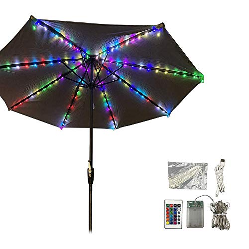 Dtong Lámpara para Sombrilla De Patio 16 Colores, Impermeables Luces para Sombrillas con Control Remoto, 4 Modos, 104LED, Funciona con Pilas/USB Recargable, para Iluminación Parasoles Terraza