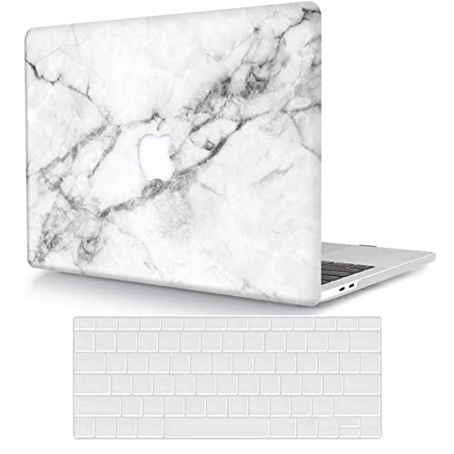 ACJYX Compatible with MacBook Pro 13 inch Case with CD-ROM (Model: A1278, Old Version Release 2012 2011 2010 2009 2008), Protective Plastic Hard Shell Case & Keyboard Cover, White Marble 2