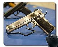 ゲーミングおしゃれスリップ防止マウスパッドカスタム、ピストル銃武器銃保護金属おしゃれスリップ防止マウスパッドステッチエッジ