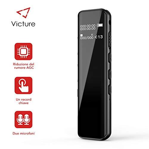 Victure Grabadora de Voz Digital Portátil, 8GB 1536kbps Ultra-HD Diseño de Espejo Completo Grabador de Sonido con Reproductor de MP3, Micrófono Incorporado, Baterías Recargables