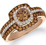 Bella Jewelry Shop Double Halo Round Cut Chocolate CZ Women Fashion Ring #1022 (6)