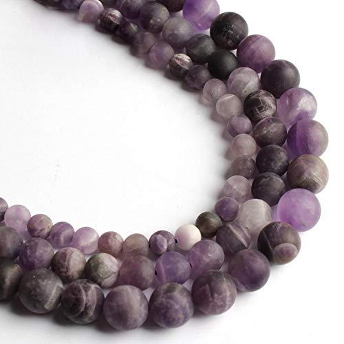 Venta al por mayor opaco mate ágatas mate Jada cuentas sueltas redondas para hacer joyas de piedra natural collar de pulsera de bricolaje 4/6/8/10 mm 15 ``, amatista púrpura, 10 mm