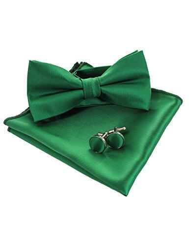 JEMYGINS Einfarbig Fliege und Einstecktuch mit Manschettenknöpfe Sets für Herren, Grün, M