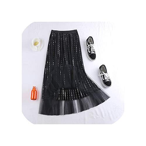 Fluweel en Mesh Lange Rok Vrouwen voor Herfst Winter Hoge Taille Zwart Geplooide Maxi Rok