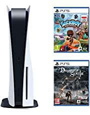 Sony PlayStation 5 + Gra PS5 Sackboy A Big Adventure! + Gra PS5 Demon's Soul Remake (PS5)