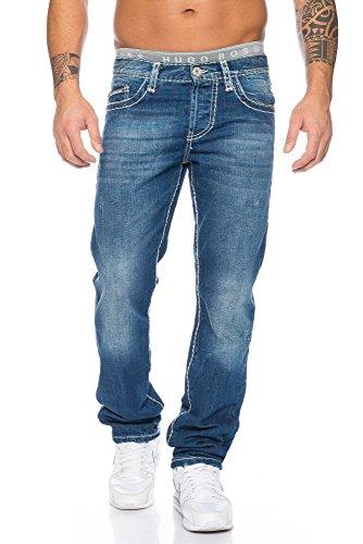 Redbridge by Cipo & Baxx Herren Jeans Hose Dicke Naht (32W / 32L, Blau)