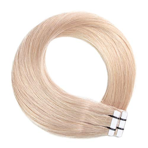 Just Beautiful Hair 30 x 2.5 g Extensions bande adhésives - 40cm, REMY Hair #20 blond cendré, lisse